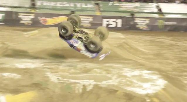 Monster Jam driver Lee O'Donnell made history Saturday by landing the first-ever front flip in competition. (Photo from Darren Rovell/Twitter)