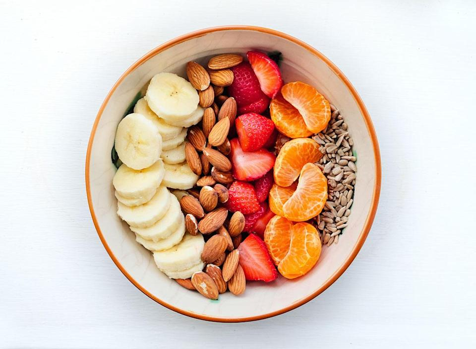 Fruit and nuts in snack bowl