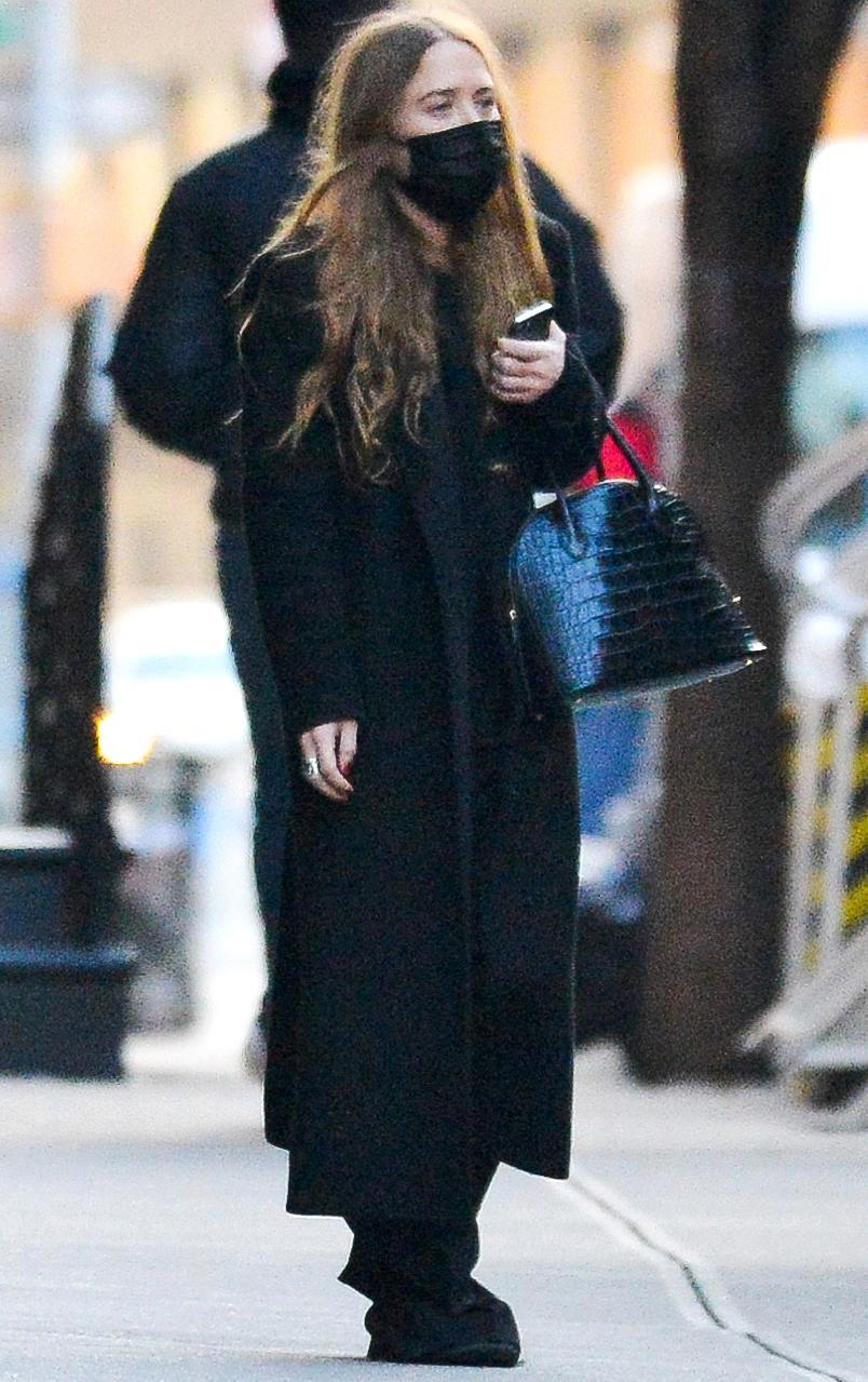 <p>Mary-Kate Olsen was wearing all black during an outing in New York City.</p>