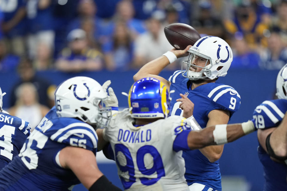 Indianapolis Colts quarterback Jacob Eason (9) throws during the second half of an NFL football game against the Los Angeles Rams, Sunday, Sept. 19, 2021, in Indianapolis. (AP Photo/AJ Mast)