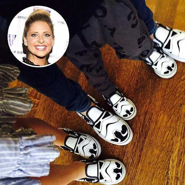<p>Gellar showed she and her kids, Charlotte and Rocky, were excited for her new job voicing one of the characters in Disney's animated <em>Star Wars</em> series, <em>Star Wars Rebels</em>, when she shared this snap in March 2015. (Photo: Getty Images/Instagram) </p>