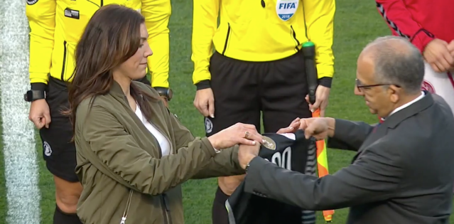 Hope Solo presented honorary jersey by same man she called out personally the day before