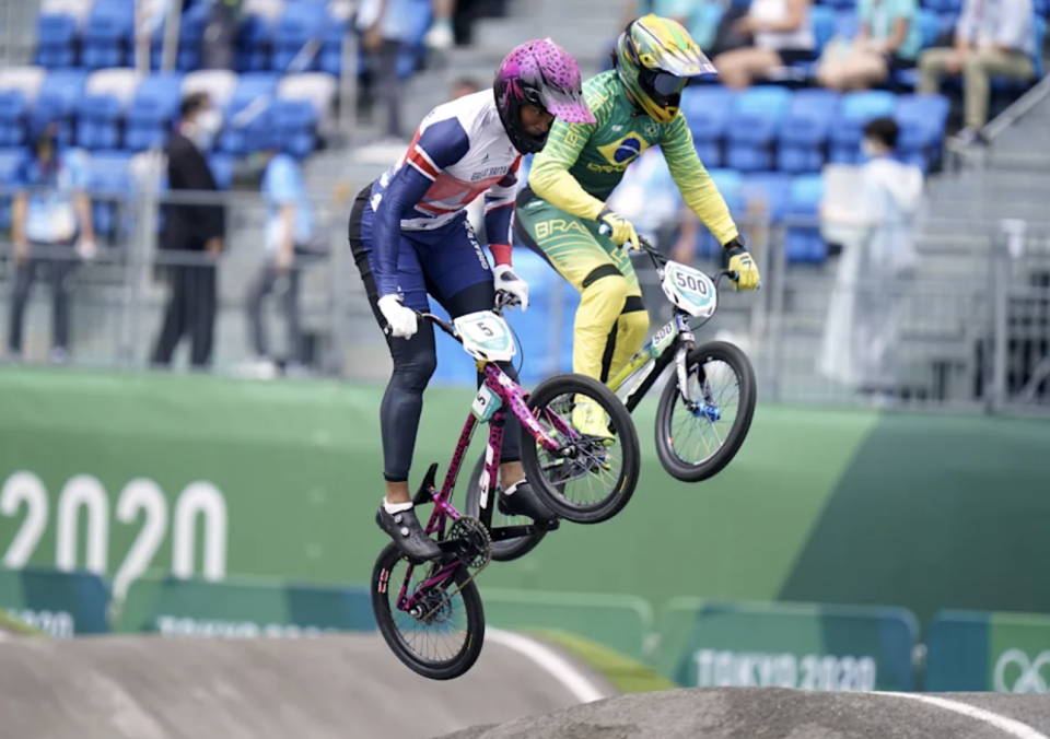 Kye White (left) and his fellow Olympic BMX riders know risk comes with the job. (Photo by Danny Lawson/PA Images via Getty Images)