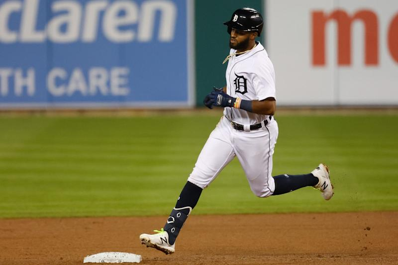 Detroit Tigers shortstop Willi Castro (49) runs the bases after hitting a home run in the sixth inning Sept. 15, 2020 against the Kansas City Royals at Comerica Park.