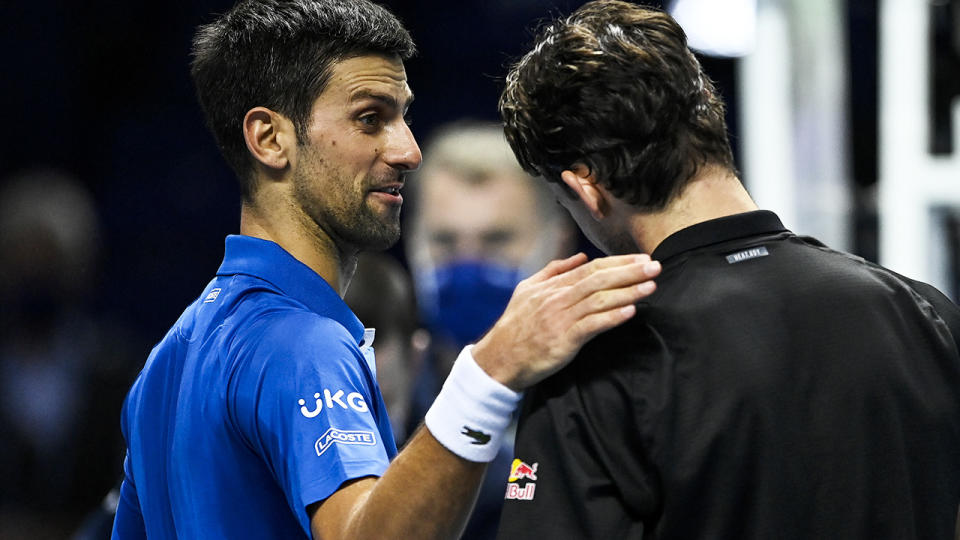 Novak Djokovic and Dominic Thiem, pictured here after their semi-final clash at the ATP World Tour Finals.