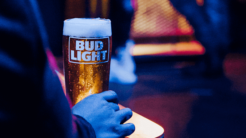 Glass of Bud Light beer