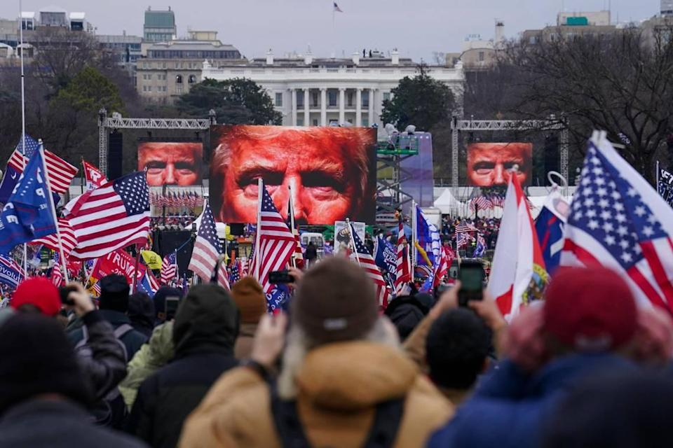 Trump supporters participate in a rally Wednesday, Jan. 6, 2021 in Washington. As Congress prepares to affirm President-elect Joe Biden's victory, thousands of people have gathered to show their support for President Donald Trump and his baseless claims of election fraud at the rally he held on the National Mall.