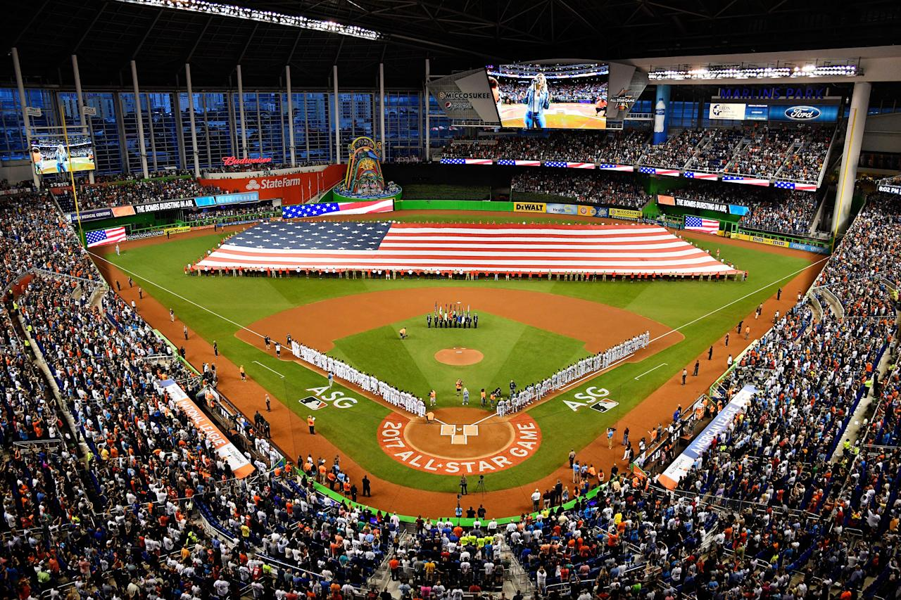 <p>A general view during the national anthem prior to the 88th MLB All-Star Game at Marlins Park on July 11, 2017 in Miami, Florida. (Photo by Mark Brown/Getty Images) </p>