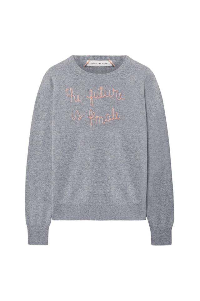 """<p><em>Lingua Franca, $380</em></p><p><a rel=""""nofollow"""" href=""""https://www.net-a-porter.com/us/en/product/1037650/Lingua_Franca/the-future-is-female-embroidered-cashmere-sweater"""">SHOP IT</a></p><p>Inspire her to show 'em who's boss with this soft cashmere sweater. </p>"""