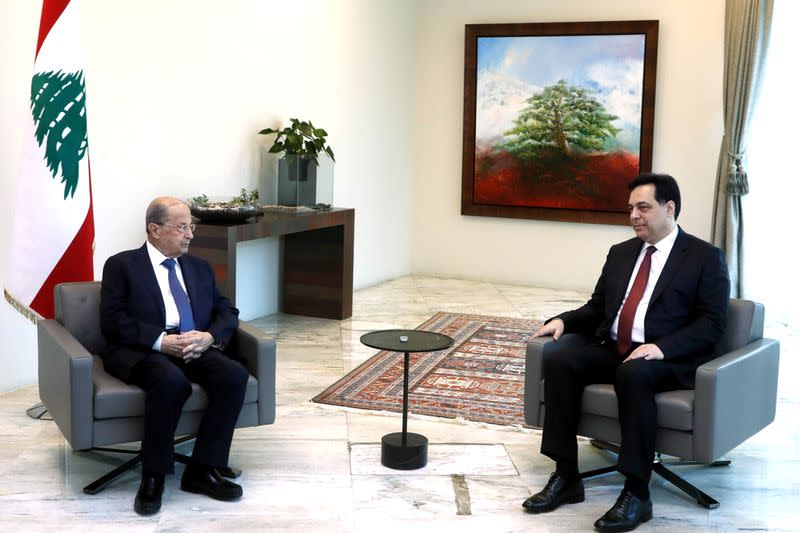 SLebanon's President Michel Aoun meets with Lebanon's caretaker Prime Minister Hassan Diab at the presidential palace in Baabda
