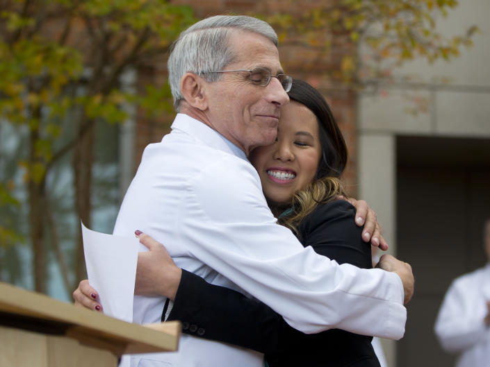Fauci with Nina Pham, the first nurse diagnosed with Ebola after treating an infected man at a Dallas hospital. She was cured of the virus. (Pablo Martinez Monsivais/AP)