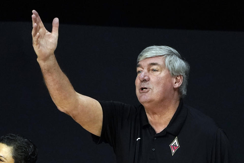 Las Vegas Aces head coach Bill Laimbeer questions a foul call against the Seattle Storm during the first half of Game 1 of basketball's WNBA Finals Friday, Oct. 2, 2020, in Bradenton, Fla. (AP Photo/Chris O'Meara)