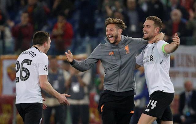 Soccer Football - Champions League Semi Final Second Leg - AS Roma v Liverpool - Stadio Olimpico, Rome, Italy - May 2, 2018 Liverpool's Jordan Henderson celebrates with Andrew Robertson and Adam Lallana after the match REUTERS/Max Rossi