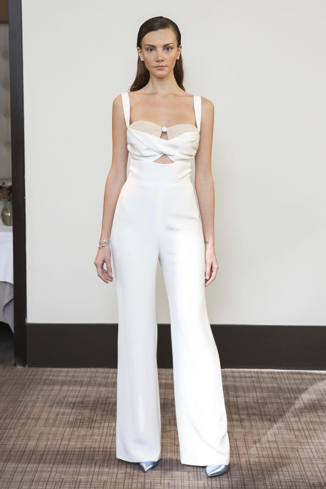 <p>Modern white jumpsuit. (Photo: Dan Lecca) </p>