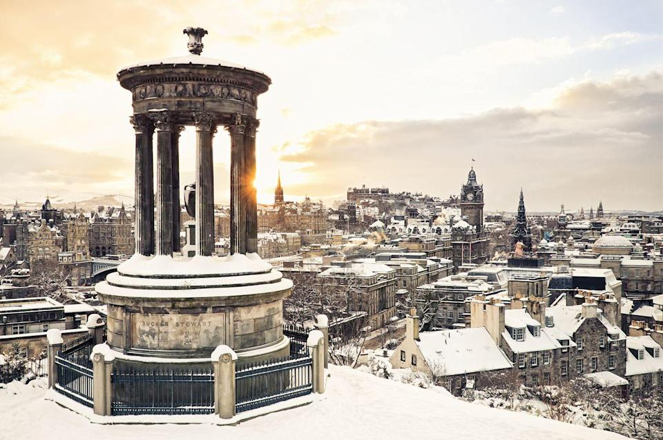 <p>The historic city center of Edinburgh, with the historic Dugald Stewart Monument in the foreground.</p>