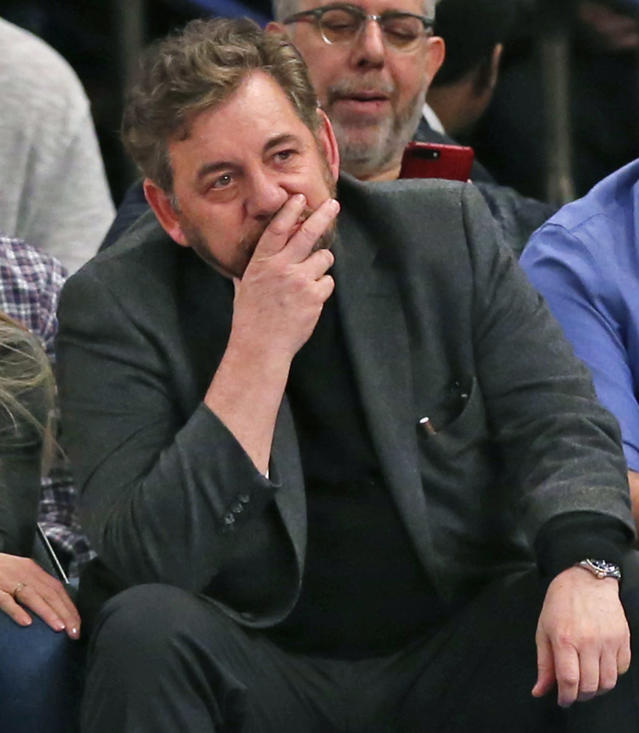 Madison Square Garden Executive Chairman James Dolan reacts. (AP)