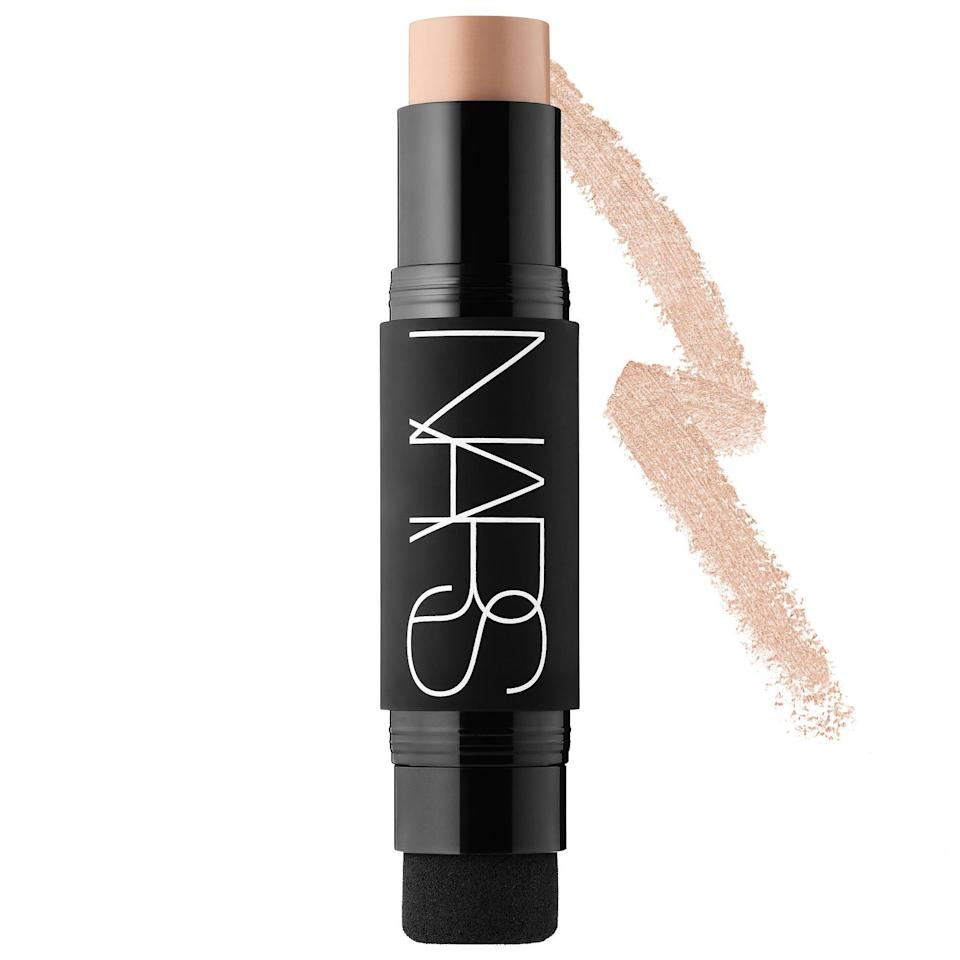 """<p>This lightweight cream blends in easily with the sponge on the opposite end, leaving our blemishes concealed and our skin matte. Plus, it's much more convenient to travel with versus a glass bottle and big brush.</p><p><strong>NARS</strong> Velvet Matte Foundation stick, $45, available at <a href=""""https://www.sephora.com/product/velvet-matte-foundation-stick-P422223?skuId=1973320&icid2=just%20arrived:p422223"""" rel=""""nofollow noopener"""" target=""""_blank"""" data-ylk=""""slk:Sephora"""" class=""""link rapid-noclick-resp"""">Sephora</a>.</p>"""
