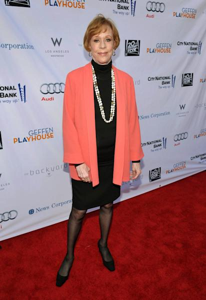 "FILE - In this June 4, 2012 publicity image provided by Geffen Playhouse, Carol Burnett arrives at the ""Backstage At The Geffen"" Fundraiser at the Geffen Playhouse, in Los Angeles. On Jan. 10, 2013, Burnett will be honored with the ""Carol Burnett Honor of Distinction Award,"" presented by The Hollywood High School Performing Arts Center at the El Capitan Theatre in Hollywood, Calif. (AP Photo/Geffen Playhouse, John Shearer, File)"