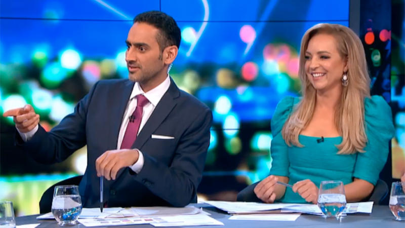 Waleed Aly was left gobsmacked, whileCarrie Bickmore tried, and failed, to contain her laughter. Photo: Ten