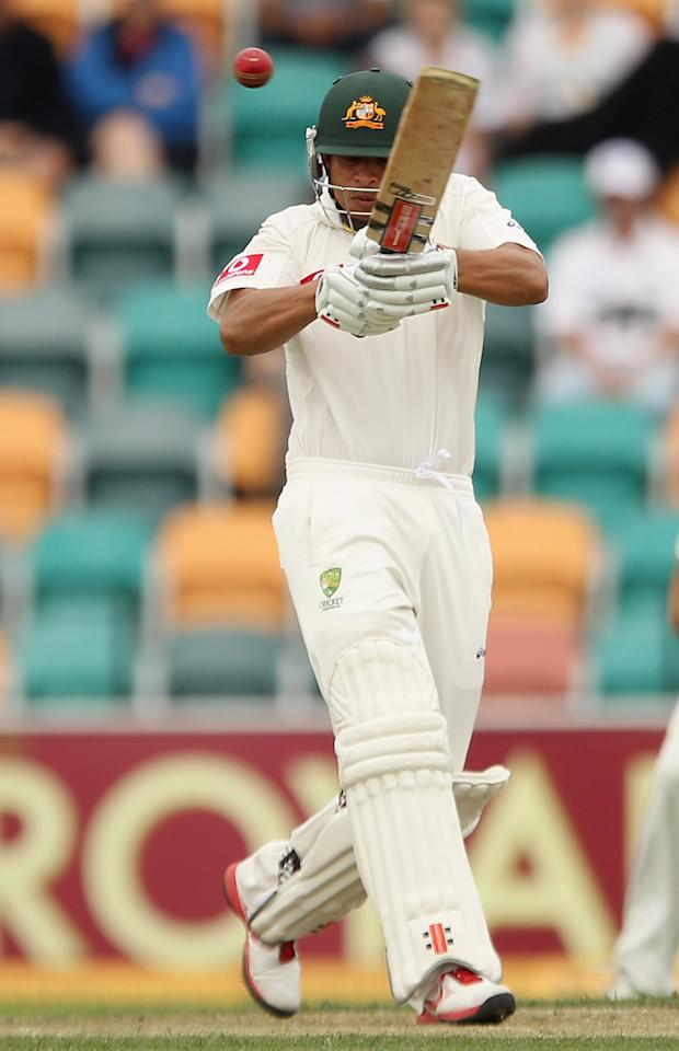 HOBART, AUSTRALIA - DECEMBER 10:  Usman Khawaja of Australia bats during day two of the Second Test match between Australia and New Zealand at Bellerive Oval on December 10, 2011 in Hobart, Australia.  (Photo by Quinn Rooney/Getty Images)