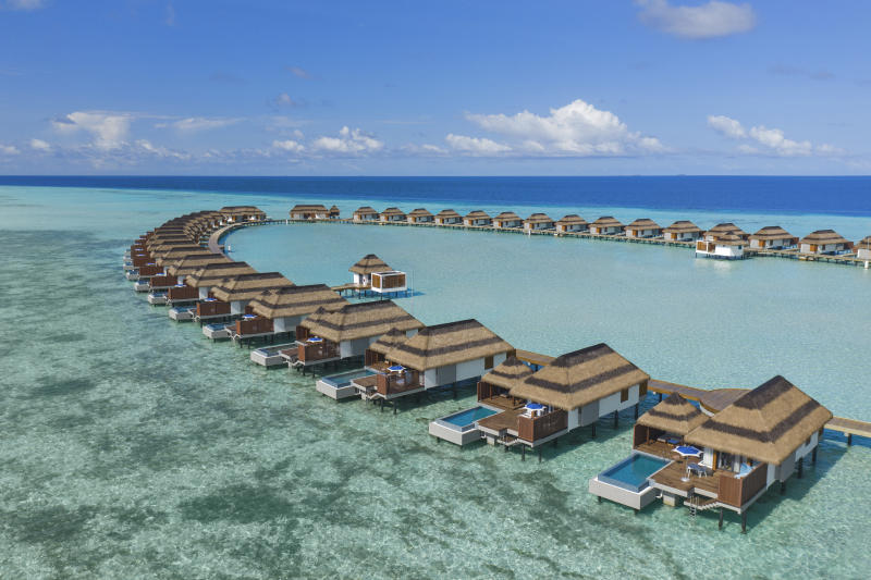 Overwater villas in the Maldives
