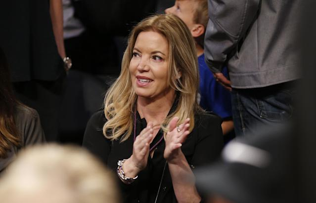 Jeanie Buss made the difficult decision to fire her brother Jim Buss and longtime Lakers GM Mitch Kupchak in 2017. (AP)