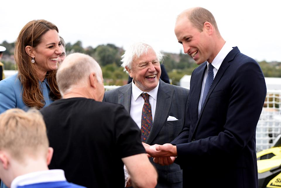 William and Kate reunited with Sir David Attenborough 10 years later at the naming ceremony for the polar research ship the RSS Sir David Attenborough in 2019. They look pleased to be reunited. (Asadour Guzelian - WPA Pool/Getty Images)
