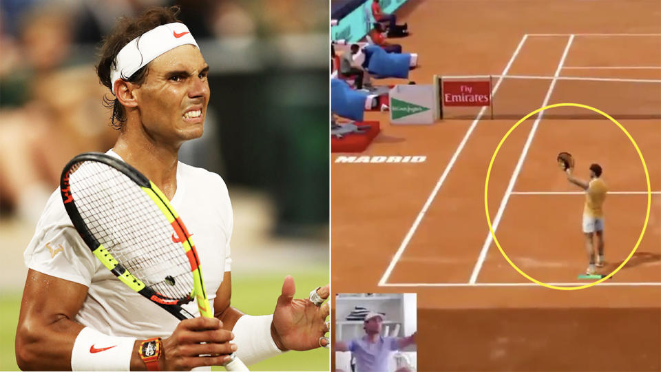 Rafael Nadal. (pictured left) looking dejected and (pictured right) celebrating the Virtual Madrid Open win.