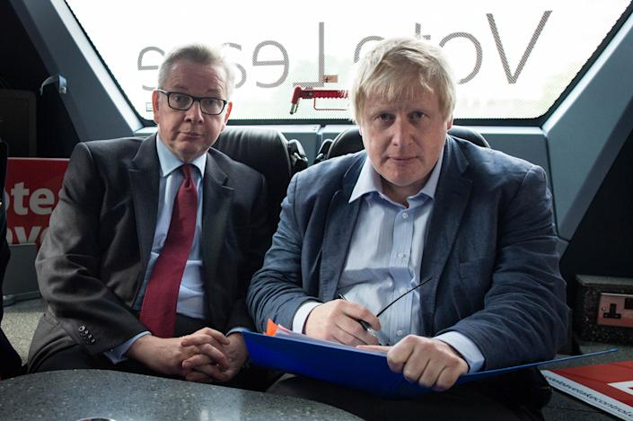 File photo dated 01/06/16 of Michael Gove and Boris Johnson (right) on the Vote Leave campaign bus. Mr Johnson has been elected by Conservative party members as the new party leader, and will become the next Prime Minister of the United Kingdom.