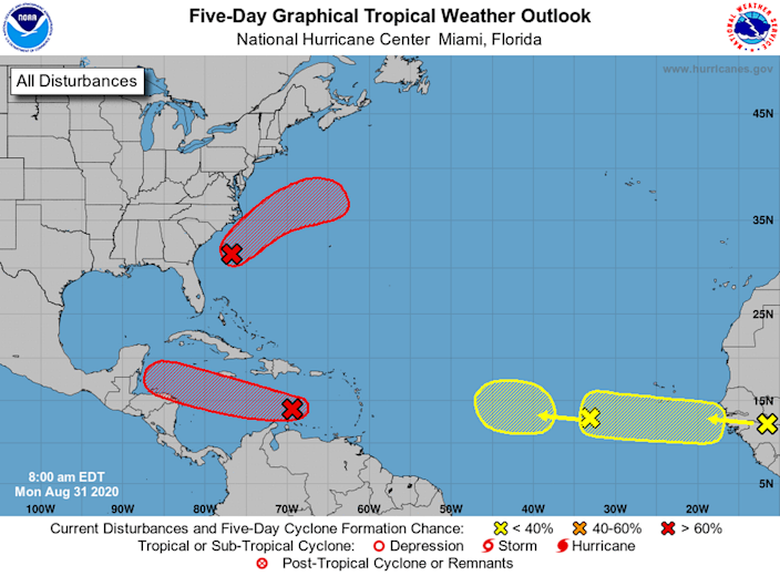 The National Hurricane Center is tracking four tropical waves in the Atlantic Basin this week.