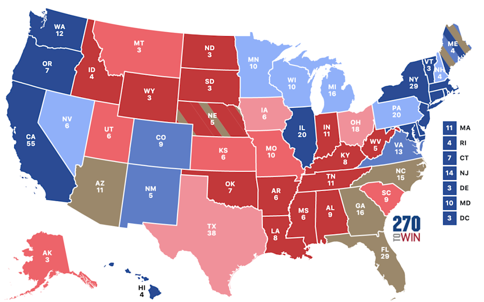 States like Florida, Pennsylvania, North Carolina, Georgia, Wisconsin and Arizona will ultimately decide the result in the race to 270 electoral college votes. Source: 270towin