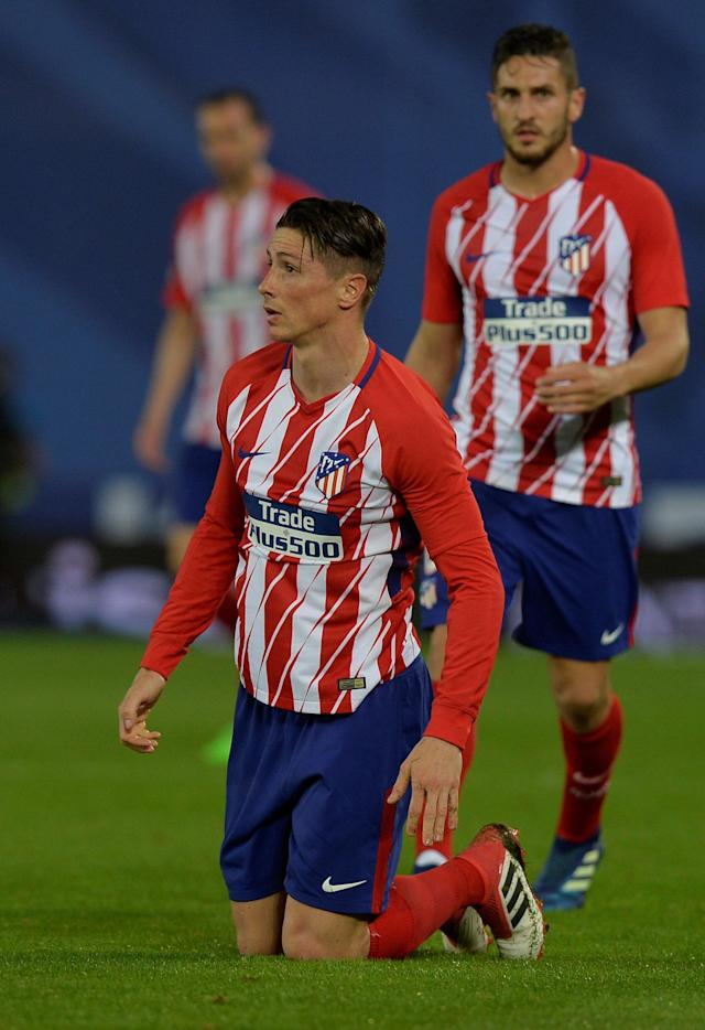 Soccer Football - La Liga Santander - Real Sociedad vs Atletico Madrid - Anoeta Stadium, San Sebastian, Spain - April 19, 2018 Atletico Madrid's Fernando Torres reacts REUTERS/Vincent West
