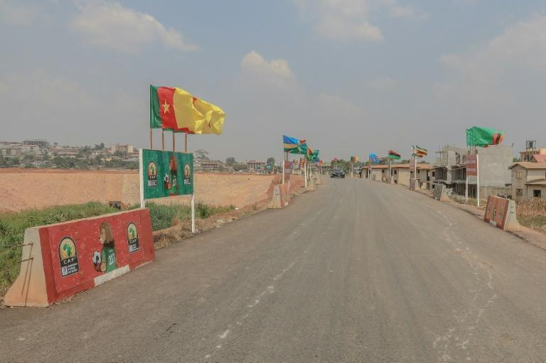 The roads are quiet as the African Nations Championship flags flutter in the breeze