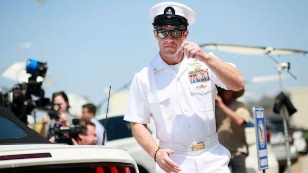 PHOTO: Navy Special Operations Chief Edward Gallagher walks out of military court during lunch recess, July 2, 2019, in San Diego, Calif. (Sandy Huffaker/Getty Images)