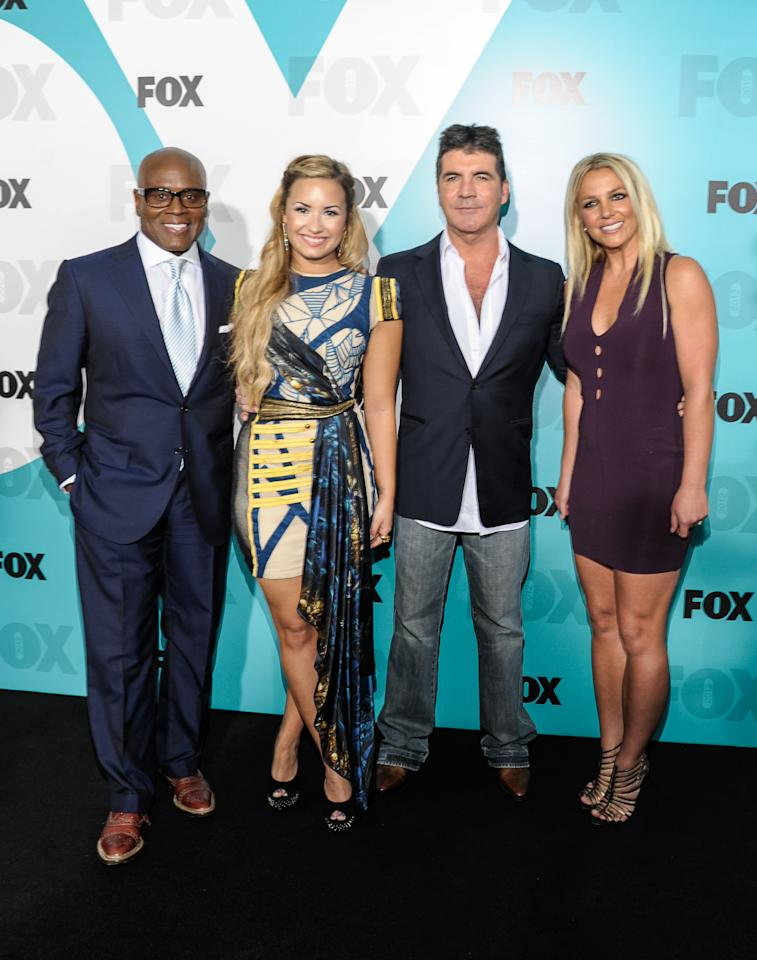 NEW YORK, NY - MAY 14: (L-R)  L.A. Reid, Demi Lovato, Simon Cowell, and Britney Spears at Wollman Rink - Central Park on May 14, 2012 in New York City.  (Photo by Dave Kotinsky/Getty Images)