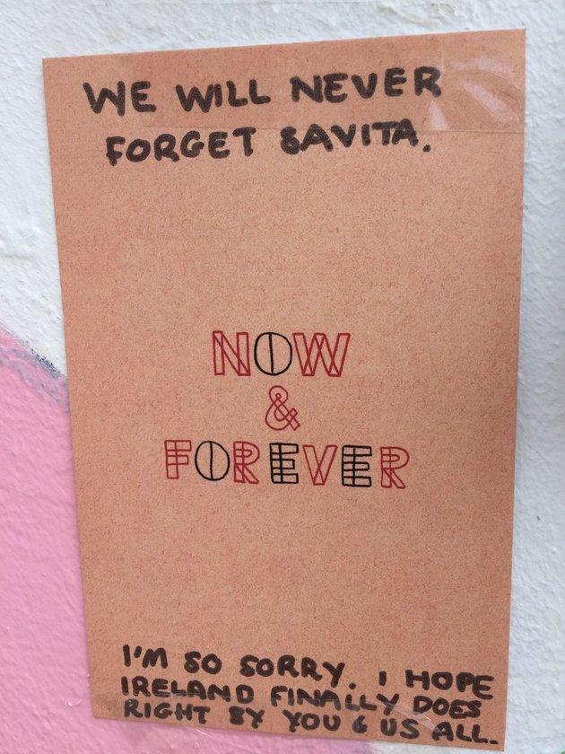 A message left at the mural for Savita Halappanavar