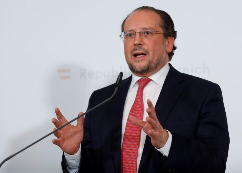 FILE PHOTO:  Austrian Foreign Minister Schallenberg addresses the media during a Government meeting in Krems