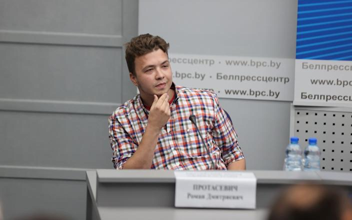 Jailed journalist Roman Protasevich was taken to a press conference in Minsk last week to say he was well treated and that he repents his crimes - Ramil Nasibulin/Belta