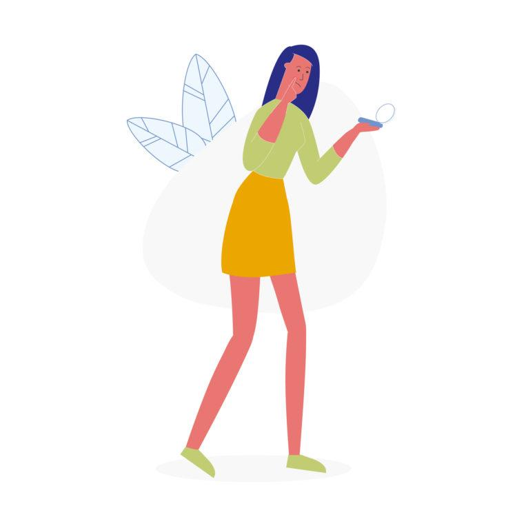 Woman Squeezing Pimple Flat Vector Illustration. Sad Girl in Casual Clothes Looking in Pocket Mirror Cartoon Character. Skin Care, Bad Hygiene Result. Young disappointed Lady with Acne