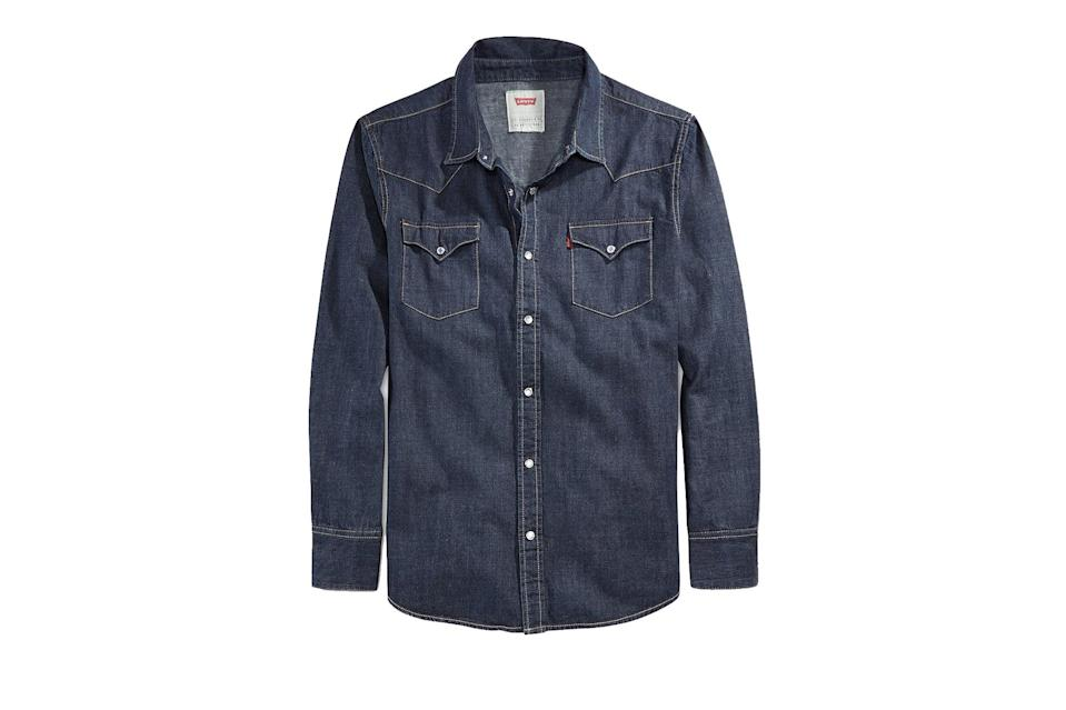 """A Levi's denim shirt is going to last just as long and work with just as many pieces in your closet as your go-to white Oxford, only the more destroyed it gets, the cooler it's going to look.<br> <br> <em>Levi's Barstow denim shirt</em> $70, Levi's. <a href=""""https://www.levi.com/US/en_US/apparel/clothing/tops/barstow-western-shirt/p/857440000"""" rel=""""nofollow noopener"""" target=""""_blank"""" data-ylk=""""slk:Get it now!"""" class=""""link rapid-noclick-resp"""">Get it now!</a>"""