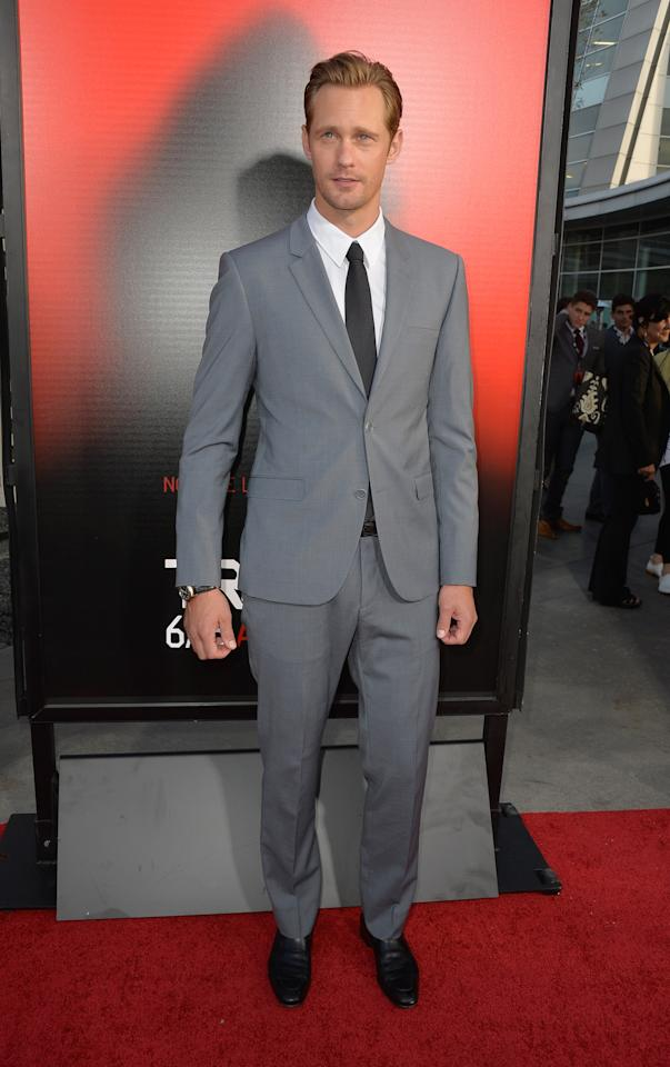 """HOLLYWOOD, CA - JUNE 11: Actor Alexander Skarsgard attends the premiere of HBO's """"True Blood"""" Season 6 at ArcLight Cinemas Cinerama Dome on June 11, 2013 in Hollywood, California. (Photo by Frazer Harrison/Getty Images)"""