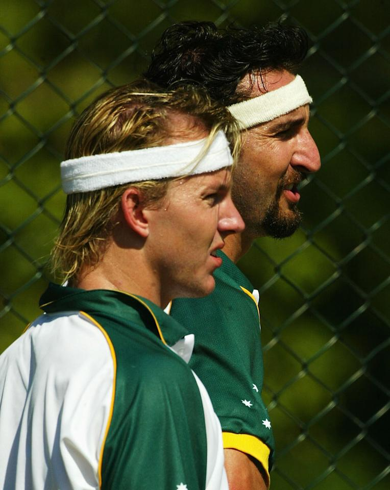 COLOMBO - FEBRUARY 16:  Brett Lee and Jason Gillespie  of Australia wearing head bands during training at Premadasa Stadium on February 16, 2004 in Colombo, Sri Lanka. (Photo by Hamish Blair/Getty Images)