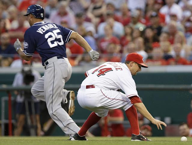 Cincinnati Reds starting pitcher Mike Leake (44) fields a ground ball hit by San Diego Padres' Will Venable (25) in the fifth inning of a baseball game, Tuesday, May 13, 2014, in Cincinnati. Leake threw Venable out at first. (AP Photo)