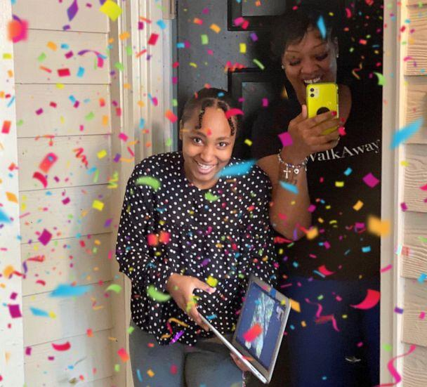 PHOTO: Emani Stanton is showered with confetti after Fleming shows up at her doorstep. (Courtesy Harvard Diversity Project)