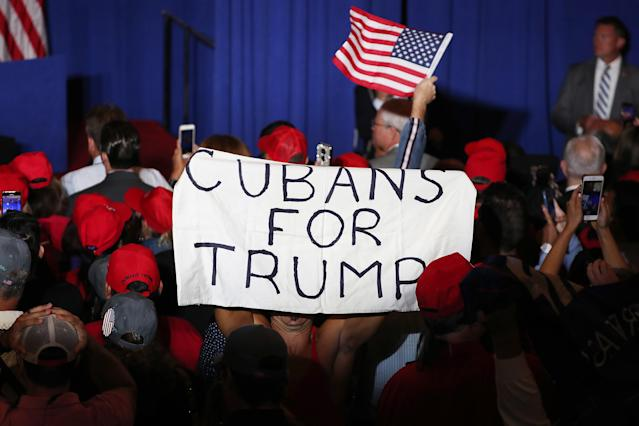 Attendees at the Latinos for Trump Coalition event in June of last year in Miami, where Vice President Mike Pence made an appearance. (Joe Raedle/Getty Images)