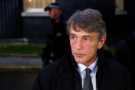 European Parliament President David Sassoli leaves afer a meeting with Britain's Prime Minister Boris Johnson, in London