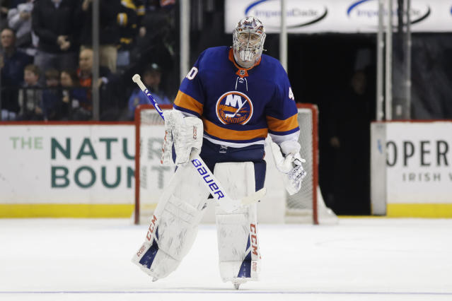 New York Islanders goaltender Semyon Varlamov (40) leaves the ice after an NHL hockey game against the Boston Bruins, Saturday, Jan. 11, 2020, in New York. (AP Photo/Frank Franklin II)