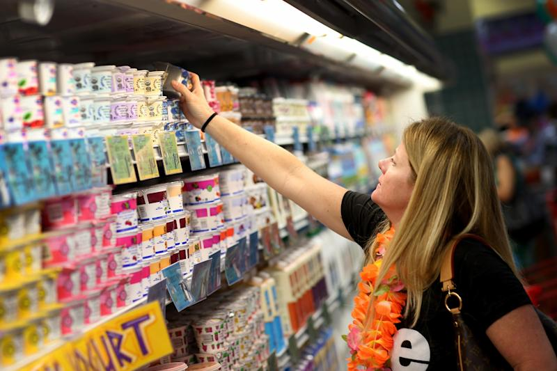 A woman shops for yogurt in Pinecrest, Florida on October 18, 2013