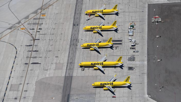 An aerial view shows Spirit Airlines jets parked at McCarran International Airport