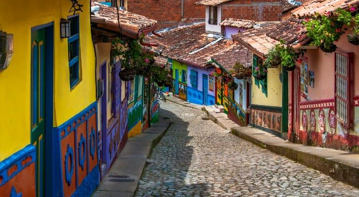 A hilly cobblestone street in Guatape, a town on the outskirts of Medellín, Colombia.
